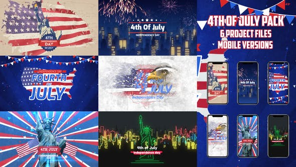 Animated 4th of July After Effects Video Templates and Instagram Video Stories