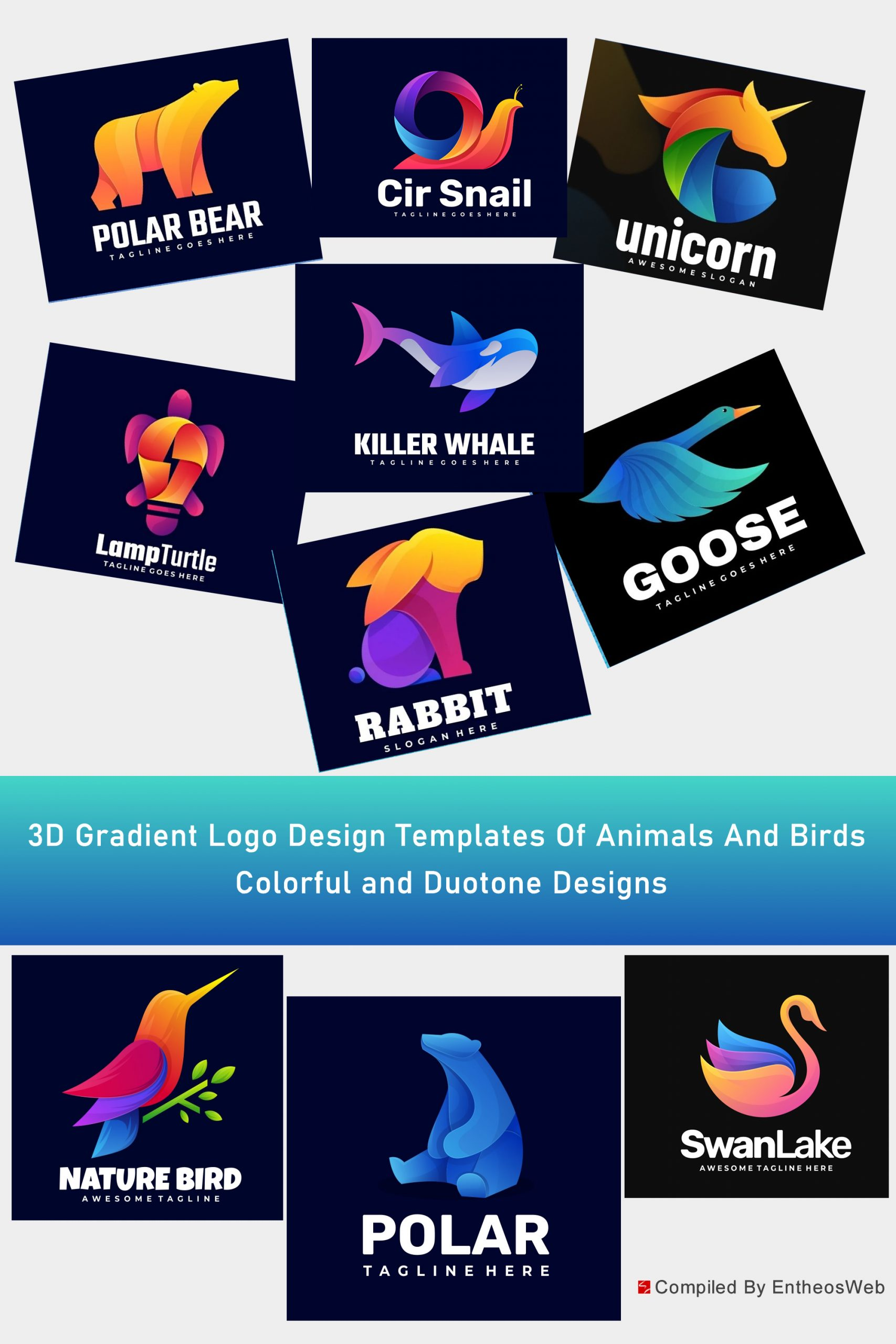 Stunning 3D Gradient Logo Design Templates Of Animals And Birds - Colorful and Duotone Designs