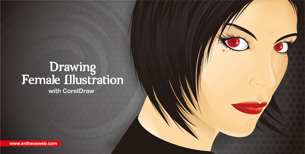 female illustration in Corel draw