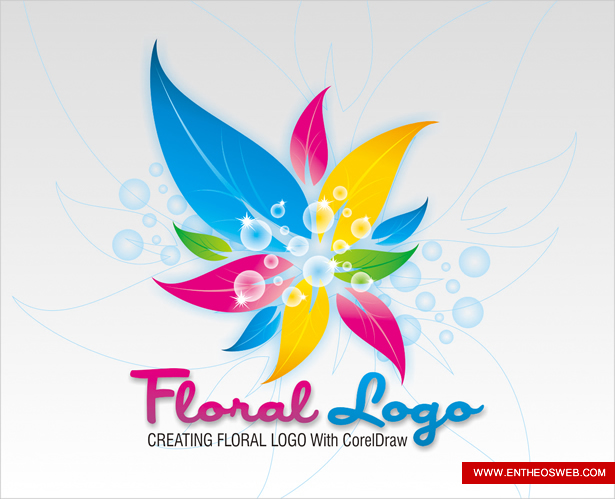 Colorful Floral Logo Design In Corel Draw | EntheosWeb